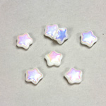 Czech Pressed Glass Bead - Star 08MM CHALKWHITE AB
