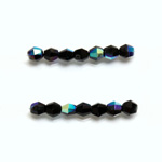 Czech Glass Fire Polished Bead - Bicone 04MM JET AB