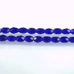 Czech Glass Fire Polish Bead - Oval 06x4MM COBALT