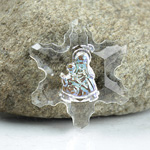 German Glass Engraved Buff Top Intaglio Pendant - Madonna Snowflake 26MM CRYSTAL AB