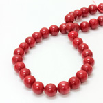 Gemstone Bead - Smooth Round 10MM DOLOMITE DYED RED