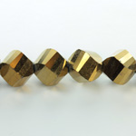 Indian Cut Crystal Bead - Helix Twisted 12MM METALLIC GOLD