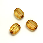 Plastic Bead - Bronze Lined Veggie Color Smooth Flat Keg 13x10MM  MATTE TOPAZ