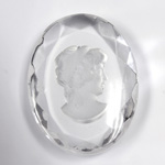 German Glass Flat Back Reverse Carved Intaglio Back Woman's Head - Oval 40x30MM CRYSTAL