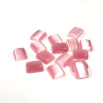 Fiber-Optic Flat Back Buff Top Straight Side Stone - Cushion 08x6MM CAT'S EYE LT PINK