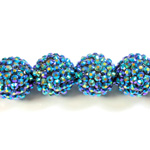 Acrylic Rhinestone Bead with 2MM Hole Resin Base - 20MM METALLIC BLUE