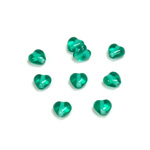 Czech Pressed Glass Bead - Smooth Heart 06x6MM EMERALD