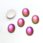 Glass Medium Dome Foiled Cabochon - Coated Oval 10x8MM MATTE VITRAIL MED