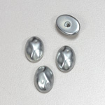 Glass Cabochon Baroque Top Pearl Dipped - Oval 14x10MM LT GREY