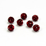 Rhinestone Bead Pave with 1.0MM Hole Metal Base Round 06MM GARNET