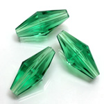 Plastic Bead -  Faceted Elongated Bicone 25x12MM EMERALD
