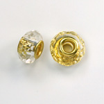 Glass Faceted Bead with Large Hole Gold Plated Center - Round 14x9MM CRYSTAL