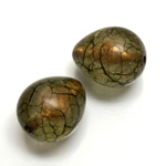 Plastic Bead - Bronze Lined Veggie Color Smooth Pear 22x18MM MATTE OLIVE