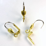 Brass Earwire 19MM Leverback with a 7x5MM sheild Pad with Open Loop with Stainless Steel wire