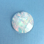 Plastic Flat Back Faceted Cabochons - Rauten Rose - Stone - Round 25MM OPAL WHITE