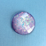 Plastic Flat Back Faceted Cabochons - Rauten Rose - Stone - Round 25MM OPAL LILAC DYED