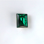 Glass Point Back Foiled Tin Table Cut (TTC) Stone - Cushion 10x8MM EMERALD