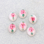 Glass Medium Dome Lampwork Cabochon - Oval 10x8MM PINK ON WHITE (04863)