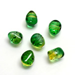 Plastic Bead - Two Tone Speckle Color Nugget 09MM GREEN YELLOW