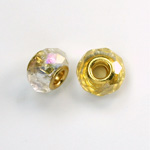Glass Faceted Bead with Large Hole Gold Plated Center - Round 14x9MM CRYSTAL AB