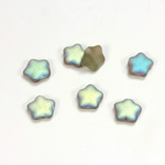 Czech Pressed Glass Bead - Star 08MM MATTE BLACK DIAMOND AB