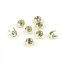 Preciosa Crystal Metal 4 Prong Rivet with Chaton 16SS CRYSTAL AB-GOLD