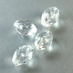 German Plastic Bead - Transparent Faceted Oval 16x11MM CRYSTAL