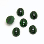 Glass Medium Dome Lampwork Cabochon - Oval 10x8MM GREEN CAT'S EYE
