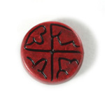 Plastic Flat Back Engraved Cabochon - Round 28MM INDOCHINE RED