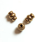Brass Machine Made Bead - Fancy Tube 06x5MM RAW BRASS