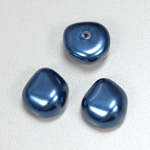 Glass Cabochon Baroque Top Pearl - Potato 18x16MM NAVY