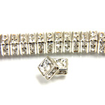 Czech Rhinestone Rondelle - Square 04.5MM CRYSTAL-SILVER