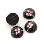Glass Medium Dome Lampwork Cabochon - Round 13MM PINK ON JET (00555)