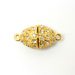 Magnetic Rhinestone Clasp - Oval 19x13MM CRYSTAL SATIN GOLD