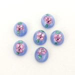 Glass Medium Dome Lampwork Cabochon - Oval 10x8MM PINK ON LIGHT BLUE (04867)