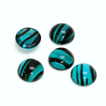 Glass Medium Dome Cabochon - Round 11MM BLUE TORTOISE