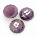 Glass Medium Dome Lampwork Cabochon - Round 18MM WHITE ON AMETHYST (00569)