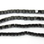 Gemstone Bead - Cube Smooth 06x6MM BLACK ONYX