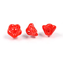 Czech Pressed Glass Bead - Flower Button Back 07MM RED