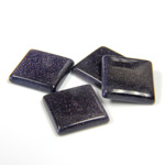 Man-made Gemstone Flat Back Single Bevel Buff Top -  Square 12x12MM BLUE GOLDSTONE
