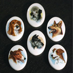 German Plastic Porcelain Decal Painting - Dogs Oval 25x18MM ON CHALKWHITE BASE