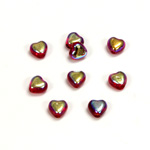 Czech Pressed Glass Bead - Smooth Heart 06x6MM RUBY AB