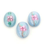 Glass Medium Dome Lampwork Cabochon - Oval 18x13MM PINK ON AQUA (04866)