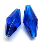 Plastic Bead -  Faceted Elongated Bicone 35x17MM SAPPHIRE