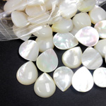 Shell Flat Back Cabochon - Pear 12x10MM WHITE MOP