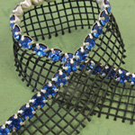 Rhinestone Banding with MC Chaton 1 Row with Net One Edge - Round 19SS CAPRI BLUE-SILVER-BLACK