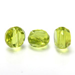 Chinese Cut Crystal Bead - Round Disc Side Drilled 08MM LT OLIVINE