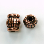 Metalized Plastic Engraved Bead - Fancy 16x11MM ANT COPPER
