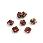 Czech Pressed Glass Bead - Smooth Flat Square 06x6MM PEACOCK RUBY