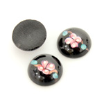 Glass Medium Dome Lampwork Cabochon - Round 15MM PINK ON JET (00555)